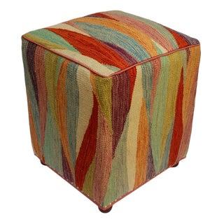 Arshs Cory Ivory/Rust Kilim Upholstered Handmade Ottoman For Sale