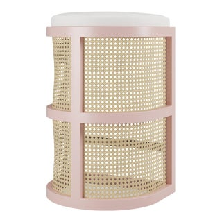 Isabella Bar Stool - Coral Dust, Optic White Linen For Sale