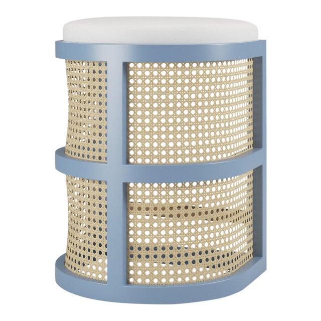 Isabella Counter Stool - Summer Mist Blue, Optic White Linen For Sale