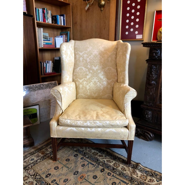 1960s Vintage High End American Hepplewhite Wing Back Chair For Sale - Image 9 of 9