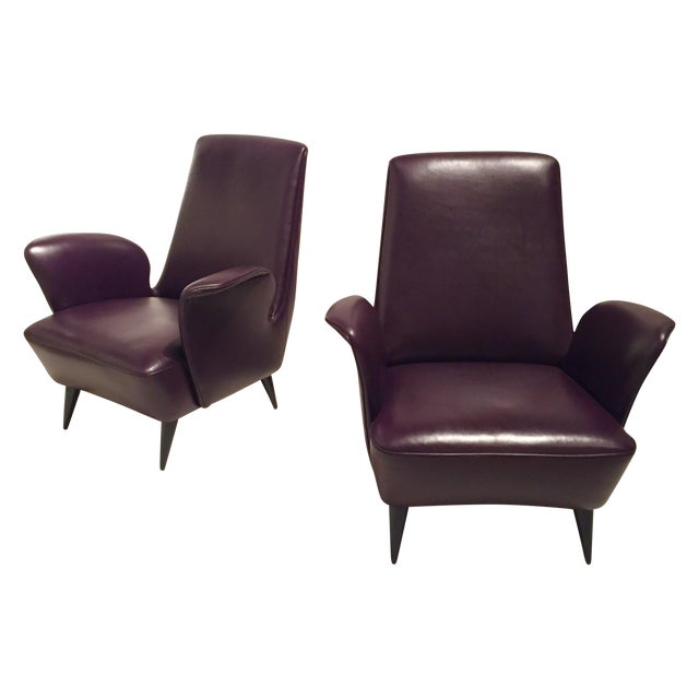 Italian Leather Armchairs - A Pair - Image 1 of 8