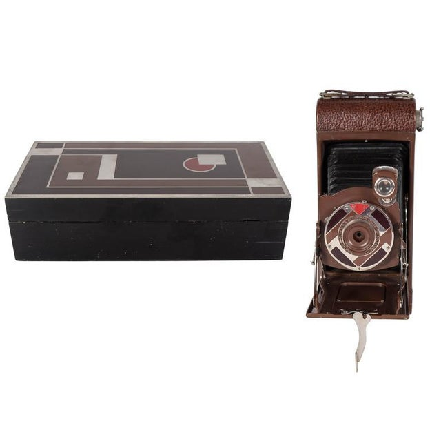 Important Art Deco Enamel and Chrome Box Fitted Camera by Walter Dorwin Teague For Sale - Image 11 of 11