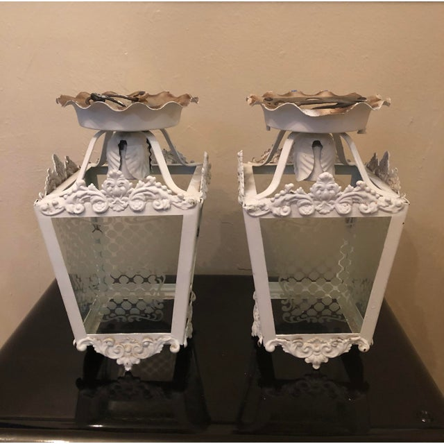 Vintage White Metal Outdoor Lights With Etched Glass Panels - a Pair For Sale - Image 10 of 10