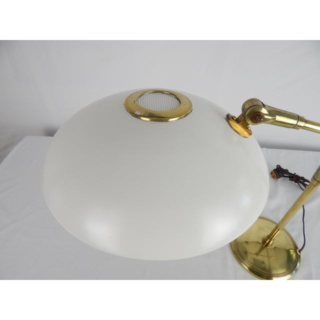 Mid-Century Saucer Desk Lamp on Brass Base For Sale In Orlando - Image 6 of 9