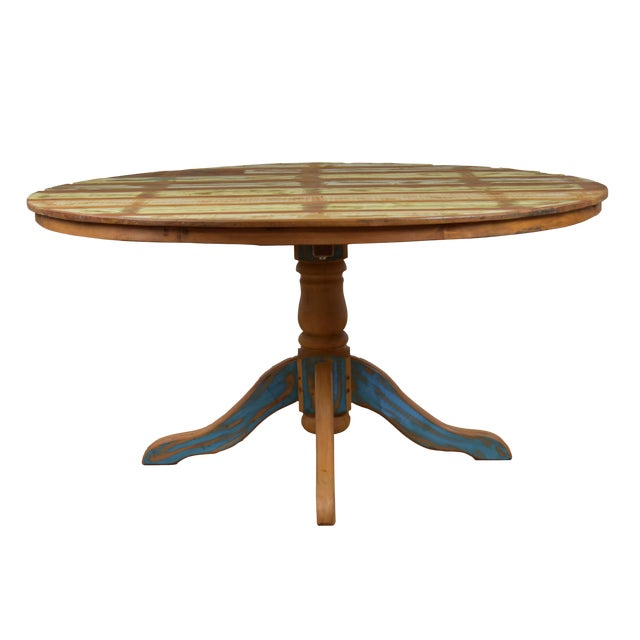 Reclaimed Wood Round Dining Table Chairish