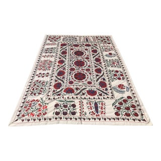 Red King Size Crochet Suzani Throw For Sale
