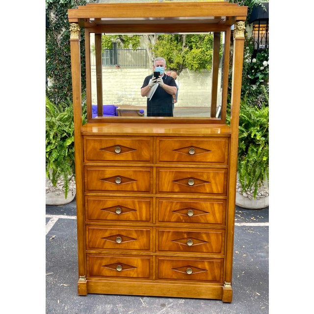 Grosfeld House Hollywood Regency Empire Coattail Bar or Dressing Chest of Drawers. Wired for lighting and mirror backed....