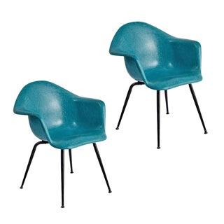 Pair of Blue Fiberglass Armchairs by Chromecraft