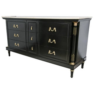 Maison Jansen French Marble-Top Ebonized Sideboard For Sale