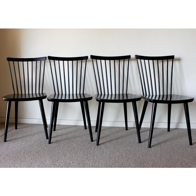Swedish Mid Century Solid Wood Spindle Dining Chairs - Set of 4 For Sale In San Diego - Image 6 of 9