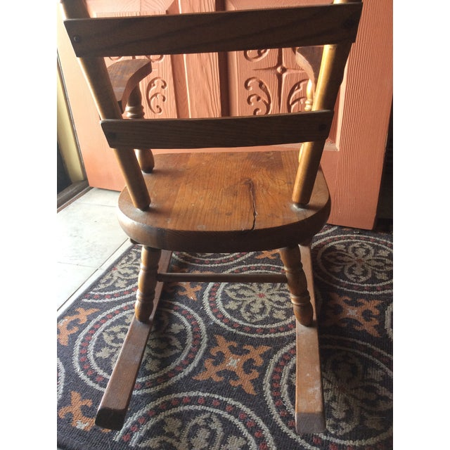 1970s 1970s Vintage Children's Wooden Rocking Chair For Sale - Image 5 of 7