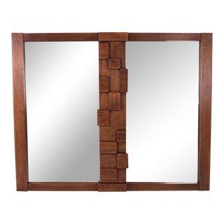 Paul Evans Cityscape Patchwork Style Lane Brutalist Mid Century Walnut Mirror For Sale