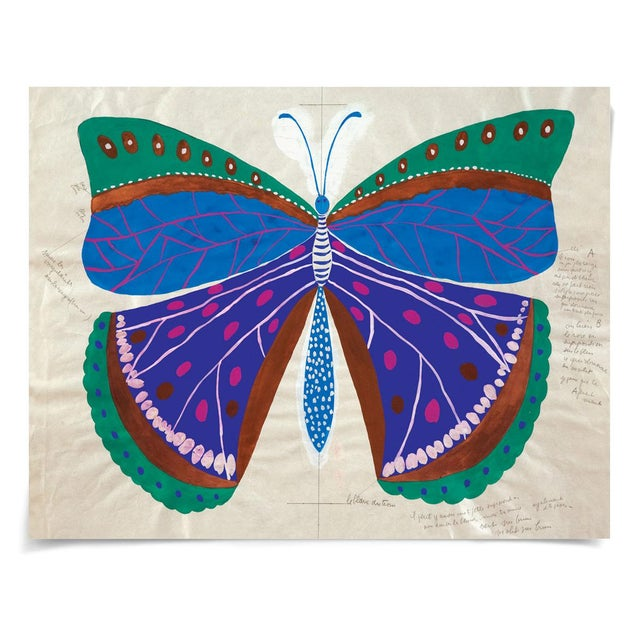 Contemporary Paule Marrot, Butterfly Blue, Unframed Artwork For Sale - Image 3 of 3