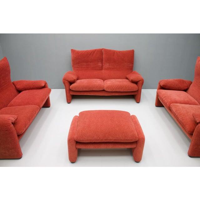 Textile Vico Magistretti Living Room Set Maralunga Sofa and Stool Cassina, Italy, 1973 For Sale - Image 7 of 13