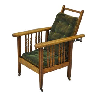 Antique Mission Oak Wood Childs Reclining Lounge Chair