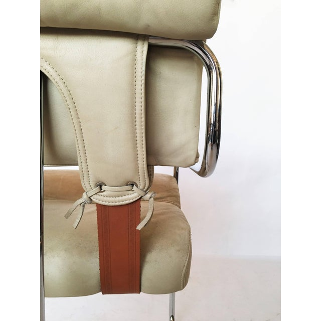 "Silver Guido Faleschini Italian Leather ""Tucroma"" Chair by I4 Mariani for Pace For Sale - Image 8 of 9"