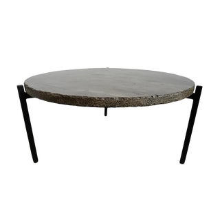 Round Marble & Iron Coffee Table For Sale
