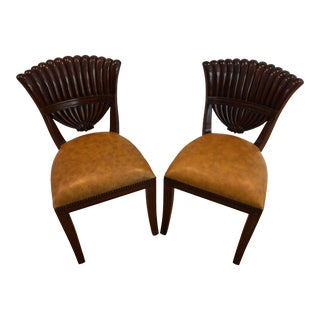 Maitland-Smith Mahogany Side Chairs Carved Shell Back Distressed Leather For Sale