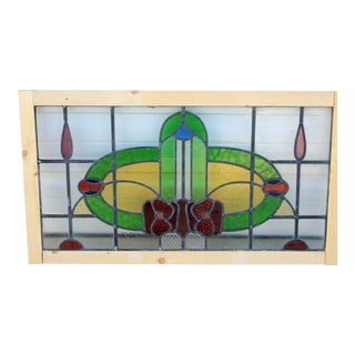 1920's Antique English Stained Glass Window Transom For Sale