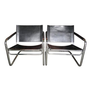 Pair of Chrome Leather Chairs Cantilever by Linea Veam For Sale