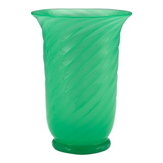 Tall Steuben Jade Green Ribbed Swirl Glass Vase, Mouth Blown With Polished Pontil For Sale