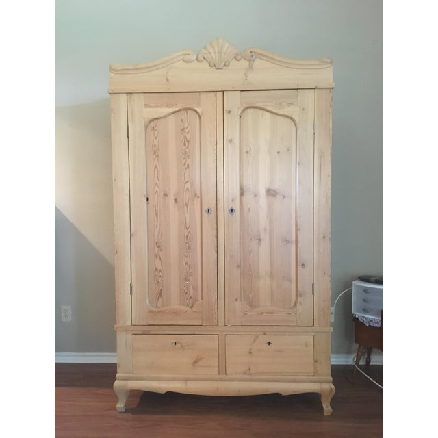19th Century Antique Scandinavian Pine Wardrobe - Image 2 of 6