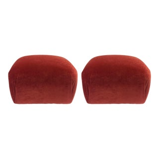 1980s Vintage Paprika Velvet Poufs- A Pair For Sale