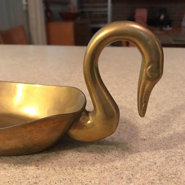 Mid-Century Brass Swan Bowl - Image 3 of 8