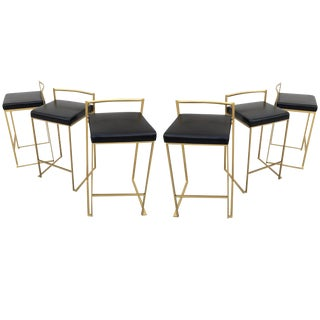 Six Minimalist Modern Bar Stools by Enzo Berti For Sale