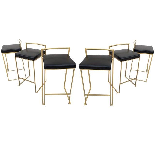 Six Minimalist Modern Bar Stools by Enzo Berti For Sale