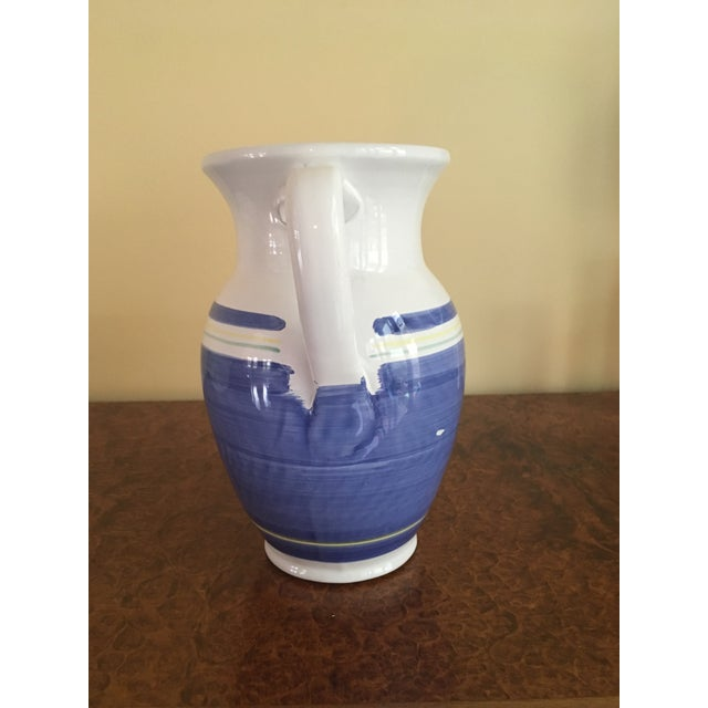 Country Blue & White Earthenware Pitcher For Sale - Image 3 of 6