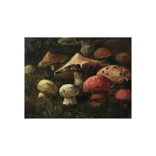 """American School Painting """"Mushrooms in the Forest"""" For Sale"""