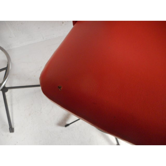 Metal Set of Four Mid-Century Modern Swivel Bar Stools For Sale - Image 7 of 13