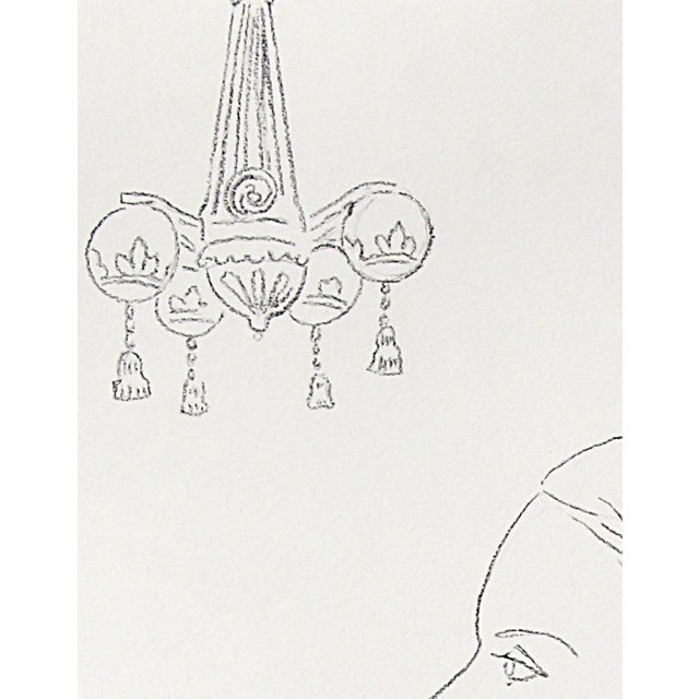"""Sarah Myers Sarah Myers """"Lady and a Chandelier"""" Charcoal Drawing For Sale - Image 4 of 5"""