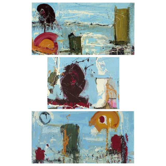 """William P. Montgomery Abstract Triptych Painting on Wood """"Rollercoaster"""", 2016 For Sale - Image 13 of 13"""