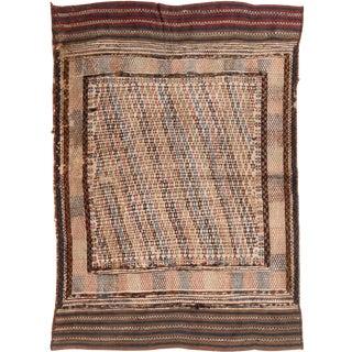 Vintage Mid-Century Brown Wool Kilim Rug - 4′ × 5′6″ For Sale