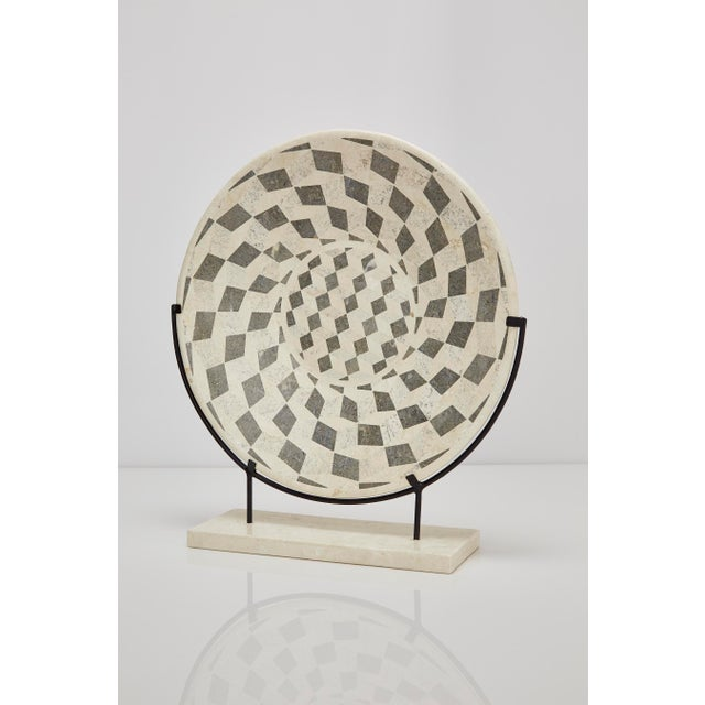 "Agate 1990s Contemporary Marquis Collection Tessellated Stone ""Illusion"" Plate on Iron Stand For Sale - Image 7 of 12"
