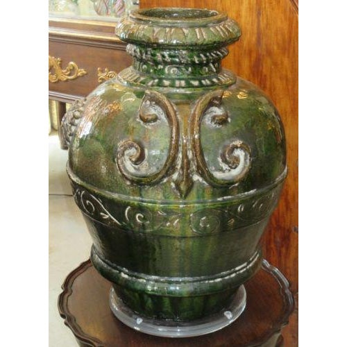 Italian Antique XXIV MDC Italian Majolica Pottery Umbrella Stand Floor Vase For Sale - Image 3 of 5
