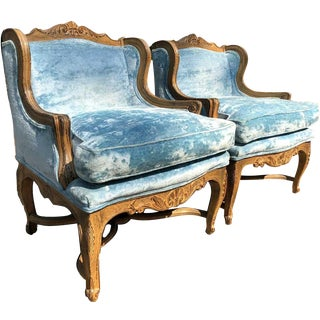 Blue Crushed Velvet Winged Bergere Chairs - a Pair For Sale