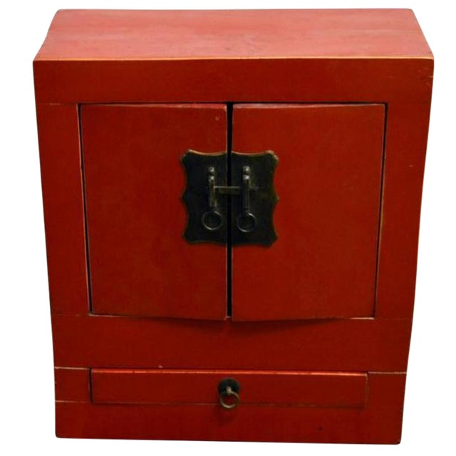 Ancient Chinese Red Lacquered Square Cabinet with Brass Hardware from the 1900s For Sale