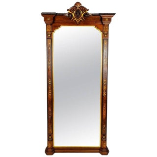Antique Victorian Walnut Pier Mirror With a Detachable Shaped Marble Shelf For Sale