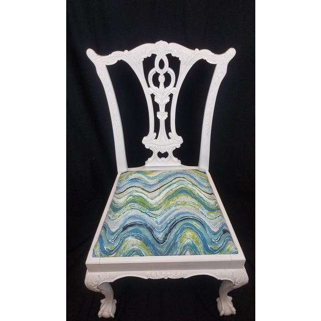 Chippendale Set of 6 White Chippendale Dining Chairs For Sale - Image 3 of 12