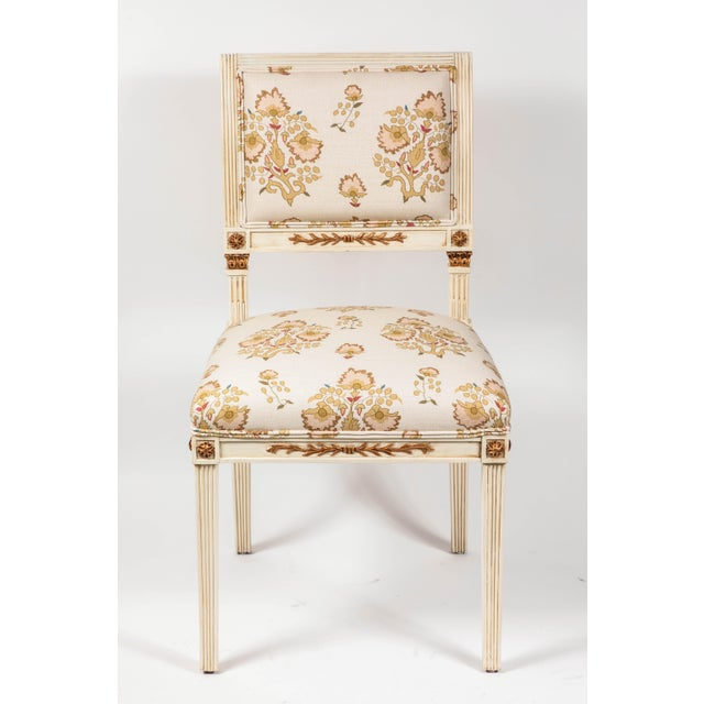 """Set of 6 French country style dining chairs newly upholstered in Penny Morrison 100% linen """"Rumeli."""" Solid hard wood..."""