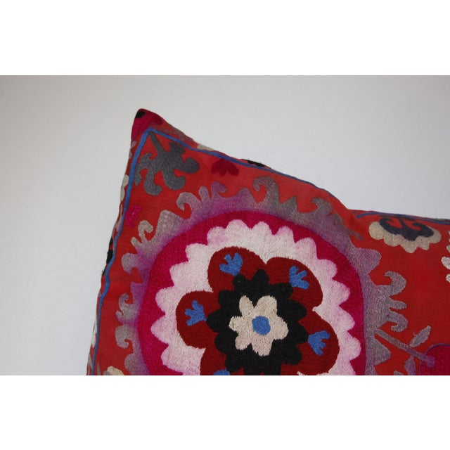 Vintage Needlework Suzani Pillow Cover For Sale - Image 9 of 12