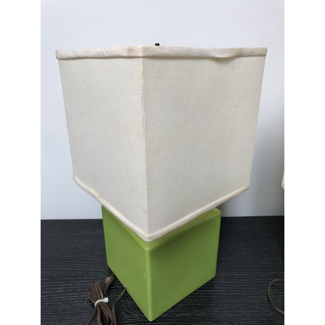 Mid Century Chartreuse Green Glaze Ceramic Table Lamps - a Pair For Sale - Image 11 of 13