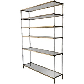 """Charles Hollis Jones Custom """"Metric"""" Étagère/Shelving Unit in Lucite and Brass For Sale"""