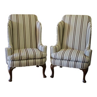 Mid-Century Queen Anne Style Wing Chairs - A Pair For Sale