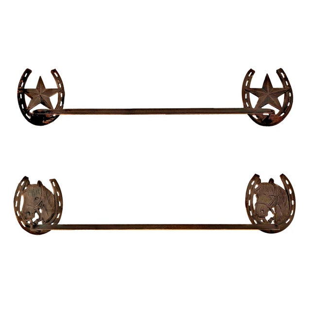 Contemporary Cowboy Western Themed Rustic Iron Towel Bars - a Pair For Sale - Image 4 of 4