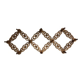 1970s Vintage Carved Expanding Peg Wall Rack For Sale