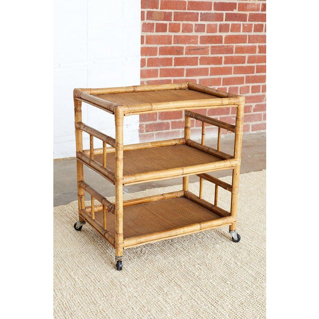 Bamboo and Raffia Rolling Three-Tier Serving Cart For Sale - Image 12 of 13